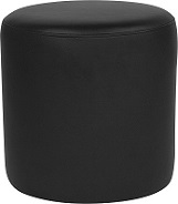 Black Leather Round Pouf