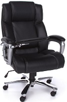 Black Leather Desk Chair with Tablet Arm